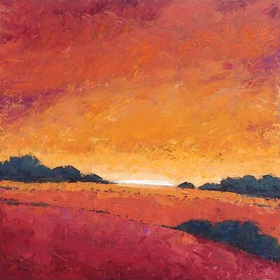 "Alison Haley Paul, '""Afterglow"" Mixed media impasto painting of a sunset over an orange and red field with orange and red sky', 2019"