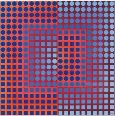Victor Vasarely, 'ZOELD Red/Blue', 1975