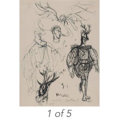 Pavel Tchelitchew, '(i) Untitled, Bathers (36-16); (ii) Costume Studies (513); (iii) Ondine, Costume Design for Bertram; (iv) Masons, Studies (T-34); (v) Untitled, Seated Figure (28-13)'