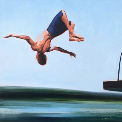 """Elizabeth Lennie, '""""Freestyle"""" oil painting of a boy flipping off a diving board', 2020"""