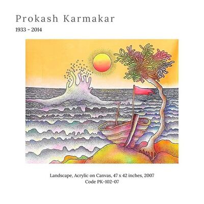 "Prokash Karmakar, 'Landscape, Acrylic on Canvas by Modern Indian Artist ""In Stock""', 2007"