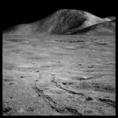 Michael Light, '095 Rover Tracks and Mount Hadley Rising 15,000 Feet Over the Marsh of Decay; Photographed by James Irwin, Apollo 15, July 26-August 7, 1971', 1999