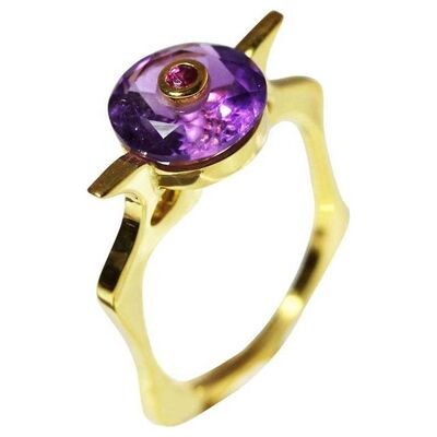 Unknown Designer, '9 Karat British Yellow Gold Set with Amethyst and Ruby Cocktail Ring', 2010
