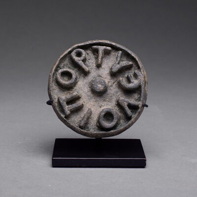 Byzantine, 6th-7th century, 'Byzantine Bronze Circular Bread Stamp', ca. 5th Century AD to 6th Century AD