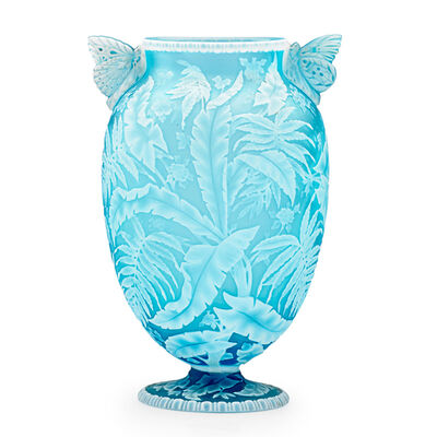 Thomas Webb & Sons, 'Exceptional Vase With Palm Fronds, Ferns  Blossoms And Butterfly Handles, England', Late 19th C.