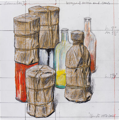 Christo and Jeanne-Claude, 'Wrapped Bottle and Cans', 1958-2001