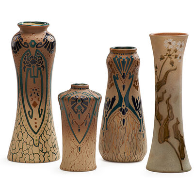 Roseville Pottery, 'Rozane, Three Fudji Vases And One Woodland Vase, Zanesville, OH', 1905-6