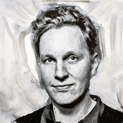 Rob and Nick Carter, 'David Shrigley Robot Painting, Painting time: 19:05:28 Stroke count: 7,839 26-27 January', 2020
