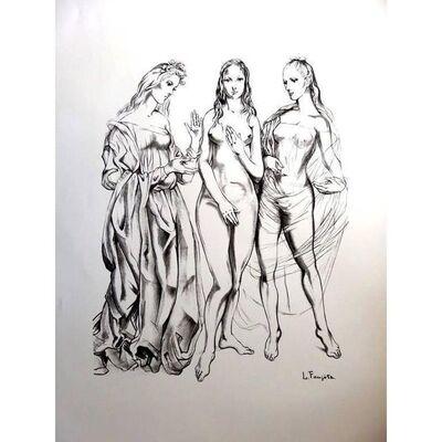 "Léonard Tsugouharu Foujita, 'Original Lithograph ""The Three Graces"" by Léonard Foujita', 1960"