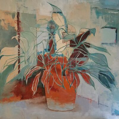 Jacqueline Boyd, 'Shop and Plant with Orange Pot', 2020