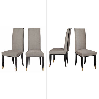 Jean Pascaud, 'Set of Four Jean Pascaud Silvered Bronze Mounted Black Lacquered Dining Chairs'