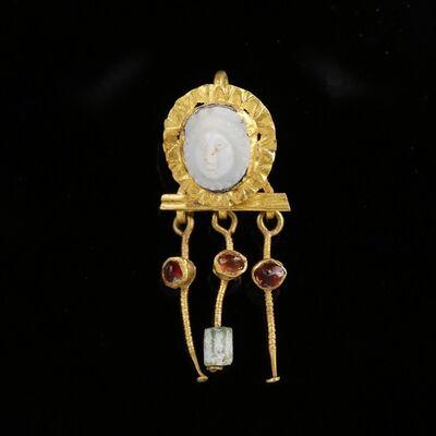 Ancient, 'Bezel Set Unique Roman Cameo Gold Drop Garnet Earring',  Circa 1st -2nd Century AD