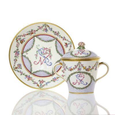 Sèvres Porcelain Manufactory, 'A Sèvres Soft-Paste Porcelain Covered Cup & Saucer', 1771