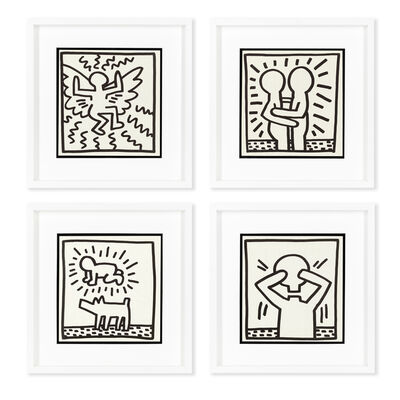 Keith Haring, 'Flying Angel; Embrace; Radiant Baby Dog; Untitled (Head Off)', 1982