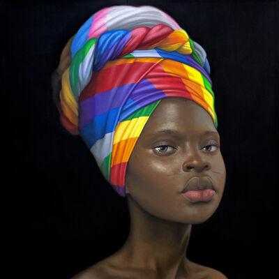 Babajide Olatunji, 'Girl with silk scarf #3', 2021