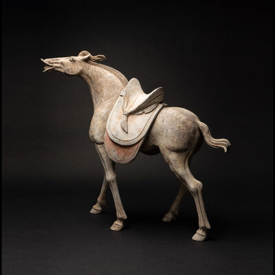 Tang Dynasty, 'Early Tang Painted Pottery Horse with Detachable Saddle ', Tang Dynasty, c. 618 , 907 A.D.