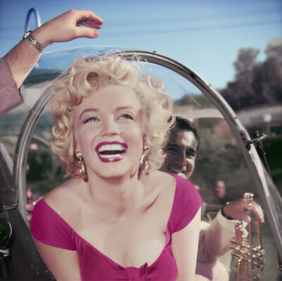 Bob Willoughby, 'Marilyn Monroe getting out of a helicopter at a party thrown in her honor by 20th Century Fox', 1952