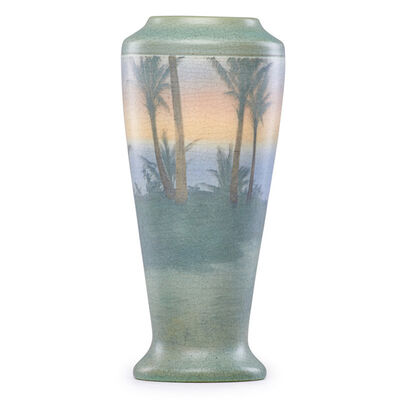 Kataro Shirayamadani, 'Tall Banded Scenic Vellum vase with palm trees, Cincinnati, OH', 1909