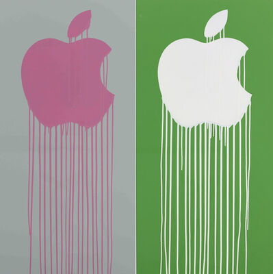 Zevs, 'Liquidated Apple - Gray and Pink/Green and White', 2013