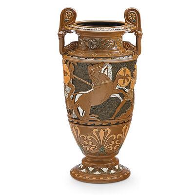 Roseville Pottery, 'Rare Della Robbia Volute Krater With Roman Battle Scene, Zanesville, OH', 1910