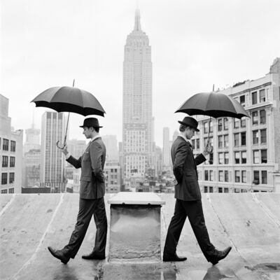 Rodney Smith, 'Reed and Nathan with umbrellas on rooftop, new york ', 2011