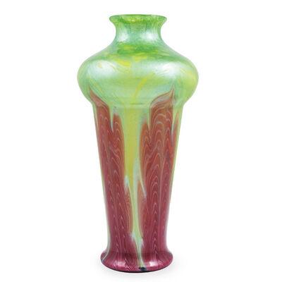 Loetz, 'Large Loetz Vase Titania Gre6388 ca. 1909 rare decor MaigrünmitRosa Austrian Art Nouveau', ca. 1909
