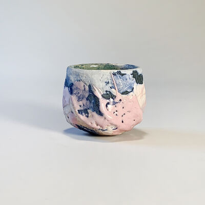 Tim Copsey, 'Pink and Blue Hand-carved Vessel (guinomi) | By Tim Copsey', 2021
