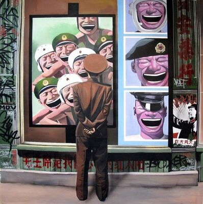 Gully, 'Rockwell meet Yue Minjun (red army) 2'