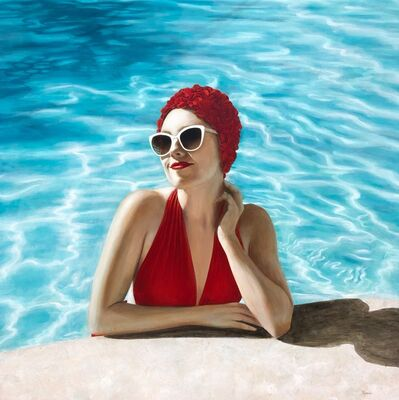 "Elise Remender, '""Poolside in Red"" portrait of a woman in a red suit and cap with sunglasses in a blue pool', 2018"