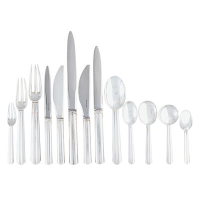 Jean E. Puiforcat, 'Fine and rare 278-piece sterling silver nine-piece Biarritz flatware set for twenty-four with 15 tablespoons, 23 soup spoons, and 23 serving pieces, France,'