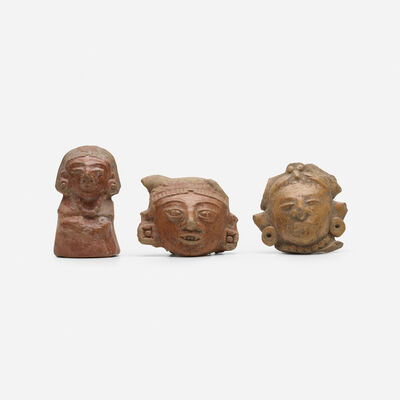 Teotihuacan, 'collection of three pottery head fragments', c. 400 A.D.