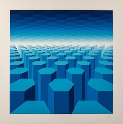 Jean-Pierre Vasarely, '50 Shades of Blue', c. 1970