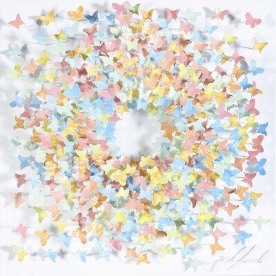 Joel Amit, 'Sun - Pastel Rainbow Butterflies on White', NA