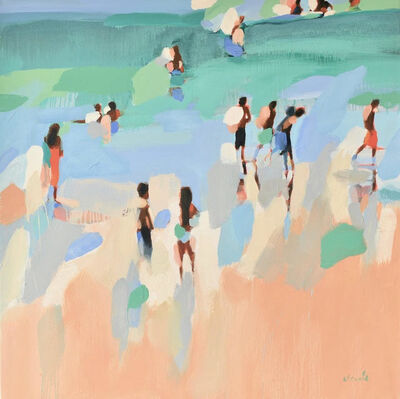 "Elizabeth Lennie, '""The Hot Season"" Abstract oil painting of people on the beach with green and blues', 2019"