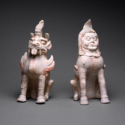 Sui Dynasty, 'Pair of Sui Glazed and Painted Terracotta Spirit Guardians', 581 AD to 618 AD