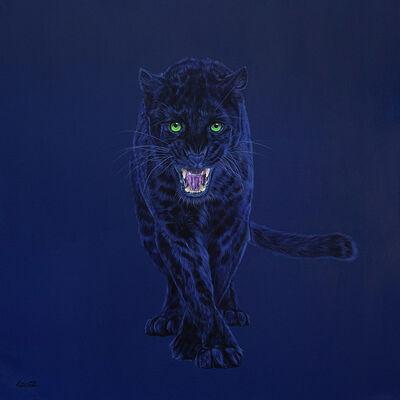 Helmut Koller, 'BLACK LEOPARD ON DARK BLUE', 2015