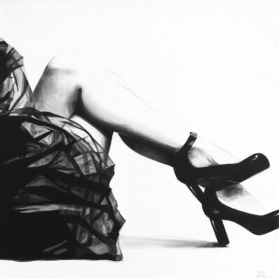 "Cindy Press, '""It's My Party"" black and white oil painting of a woman's legs in a tulle skirt and black heels', 2010"