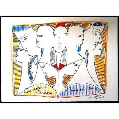 """Jean Cocteau, 'Original Lithograph """"European Diversity"""" by Jean Cocteau', 1961"""