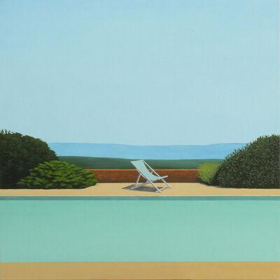 Magdalena Laskowska, 'Blue Deckchair by the pool - landscape painting', 2019