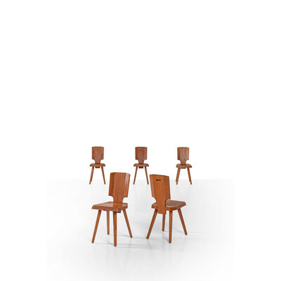 Pierre Chapo, 'Set of Five Wood Chairs, S28A Model', Around 1960