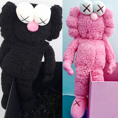KAWS, 'KAWS BFF Plush: set of 2 (KAWS pink KAWS black BFF)', 2016 & 2019