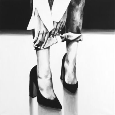 "Cindy Press, '""Reach"" black and white oil painting of lower legs wearing rolled jeans and heels, hands reach to the ankles', 2010"