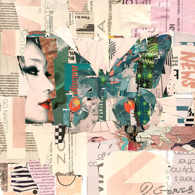 "Derek Gores, '""Fly East"" collage of a green butterfly with pink background', 2018"