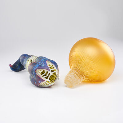 William LeQuier, 'Two glass sculptures: sea form and bulbous'