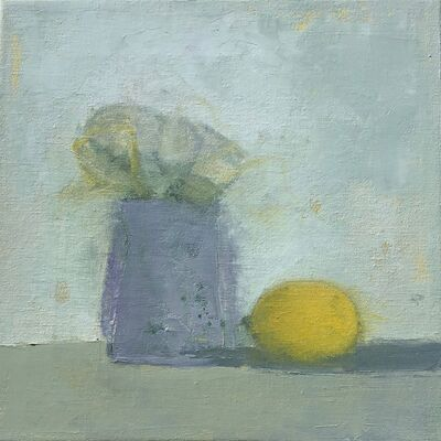 "Anne Harney, '""Lemon and Flowers"" Small-Scale Muted Still-Life in lavender and Grays with yellow', 2010-2018"