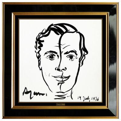 Yaacov Agam, 'Yaacov Agam Original Ink Drawing Male Portrait Hand Signed Modern Framed Artwork', 1976