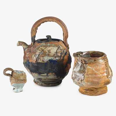Peter Voulkos, 'Rare, large teapot and coffee cup by Voulkos, tea bowl by student, Berkeley, CA', 1962