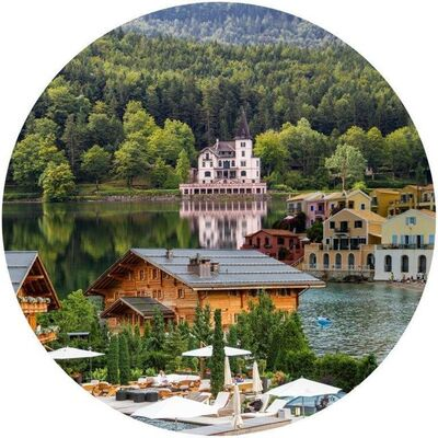 Vered Rosen, 'Gstaad (Switzerland), Background: Grundlsee Lake (Austria), The Palace by the Lake and Greece (on the right side)', 2018