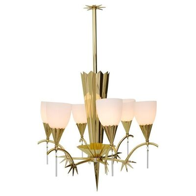 Unknown, 'Six-Arm Italian Brass Chandelier with Decorative Spikes, 1940s', 1940s