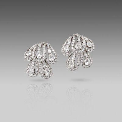 Cartier, 'A Pair of Mid 20th century Diamond Earrings by Cartier', Paris-Circa 1950
